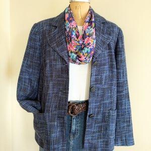 Coldwater Creek Blue Tweed Blazer Size 18